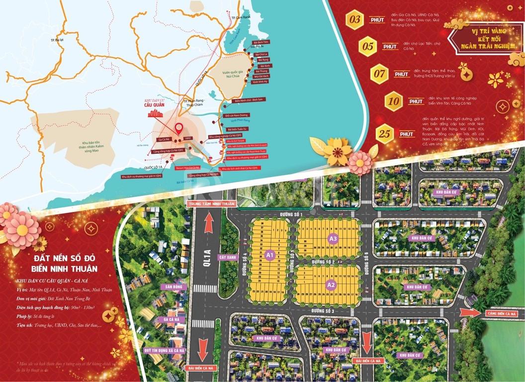 Cần thanh lý gấp 2 lô đất nền sổ đỏ tại Khu Dân Cư Cầu Quằn - Cà Ná