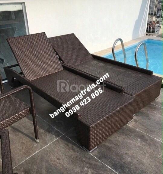 Giường tắm nắng, ghế hồ bơi nhựa giả mây