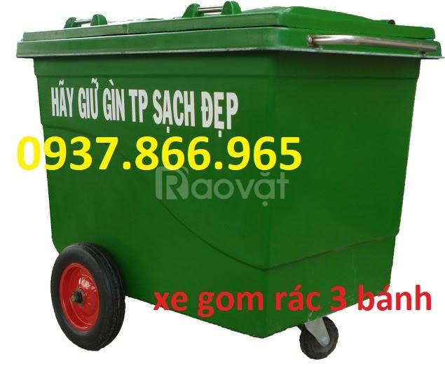 Xe gom rác nhựa 660L 3 bánh xe, 4 bánh xe thuận tiện di chuyển