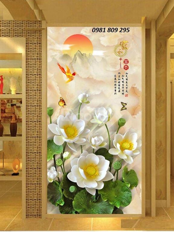 Tranh hoa sen ốp tường