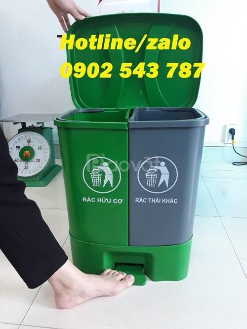 Thùng rác phân loại 2 ngăn, thùng đựng rác 2 ngăn nắp lật