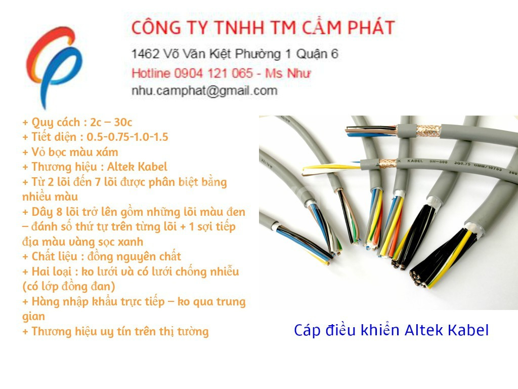Cáp điều khiển mềm lõi đồng altek kabel