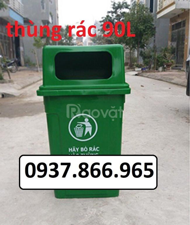 Thùng rác dung tích 90L nắp hở