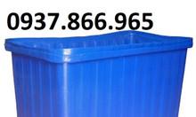 Thùng nhựa hình chữ nhật màu xanh dương chuyên dùng nuôi cá