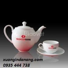 Xưởng in ấn gốm sứ tại Quảng Nam, in logo trên bộ ấm trà