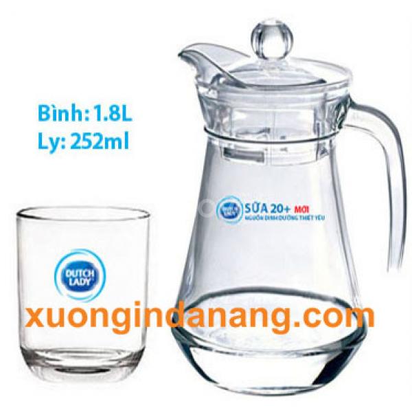 Cung cấp in logo bộ bình ly thủy tinh tại Quảng Nam