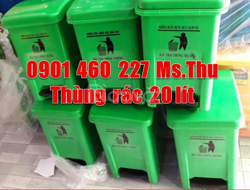 Thùng rác y tế 20l màu xanh, thùng rác đạp chân 15l màu đen TPHCM