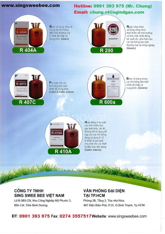 Khí Gas lạnh SSB - Singapore: R23, R134a, R401A, R404A, R407C, R410,..