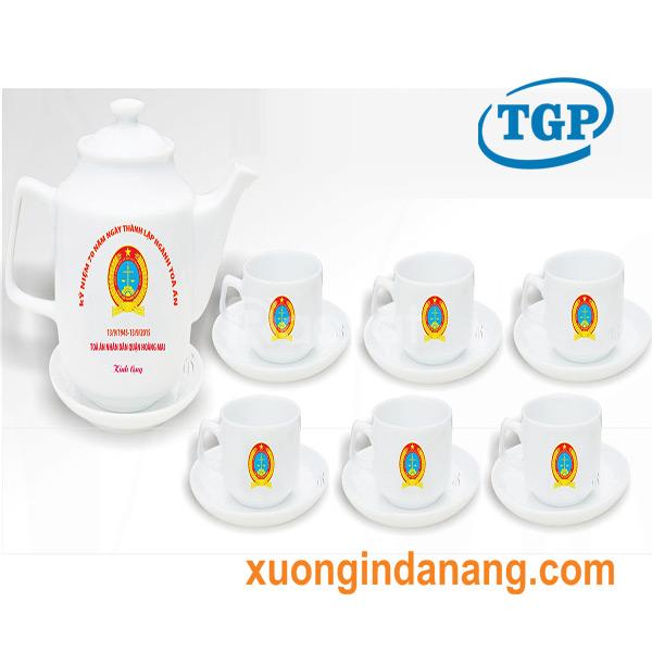 Xưởng cung cấp bộ ấm chén in logo tại Đà Nẵng