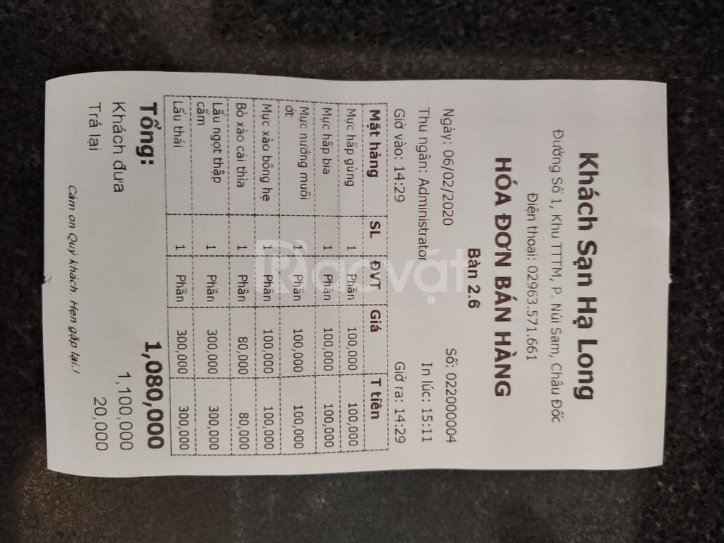 Máy tính tiền cho khách sạn tại Núi Sam - An Giang