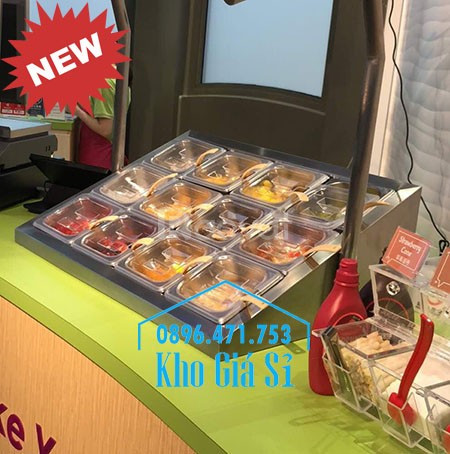 Bộ quầy inox mini để bàn bán trà sữa, cháo dinh dưỡng, bánh mì giá rẻ