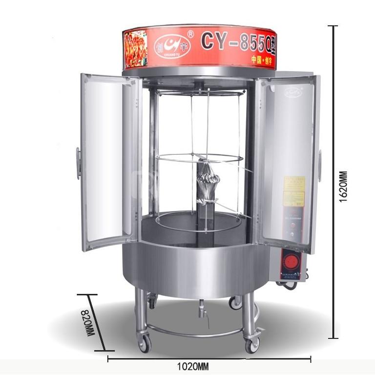 Lò quay gà vịt kính trong dùng than,gas và điện