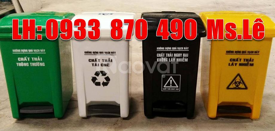 Thùng rác y tế 20 lít màu đen đạp chân,thùng rác 15 lít