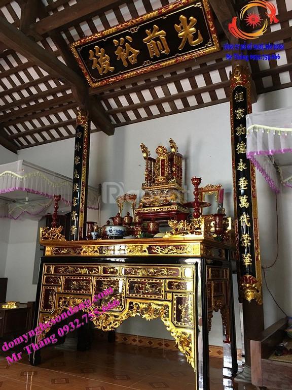 Hoành phi câu đối đẹp bằng gỗ cho thờ gia tiên, nhà thờ họ