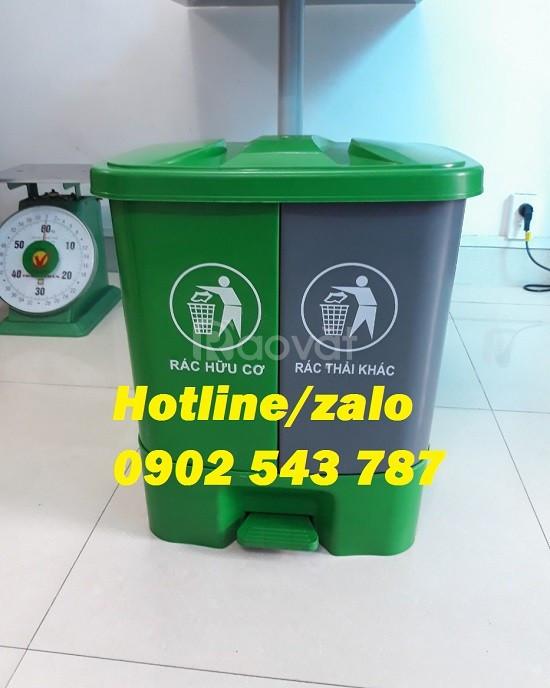 Thùng rác nhựa phân loại 2 ngăn; thùng rác 2 ngăn 40L HDPE