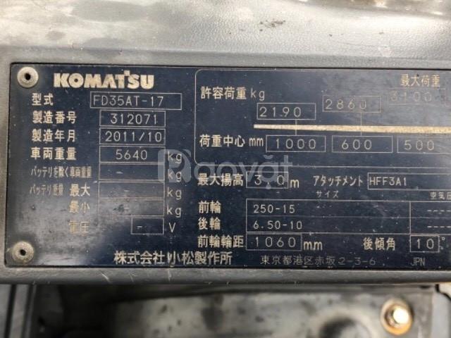 Bán xe nâng Komatsu Nhật 3.5 tấn, FD35AT-17, sx 2011 đời cao