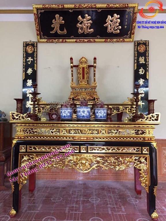 Mẫu bàn thờ cho gian thờ tư gia, nhà thờ họ, đình chùa đền