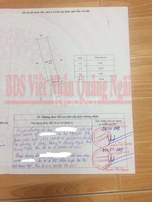 Đất nền P.Quảng Phú, TT TP Quảng Ngãi, dt 87.8m2, giá 900tr