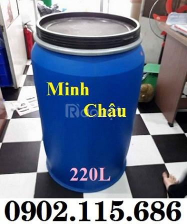 Thùng phuy nhựa 220 lít có đai sắt, thùng phuy nhựa 220L nắp mở,