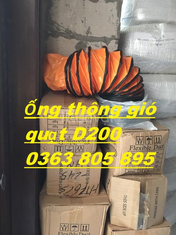 Ống thông gió quạt,ống gió vải cam D300 hàng sẵn