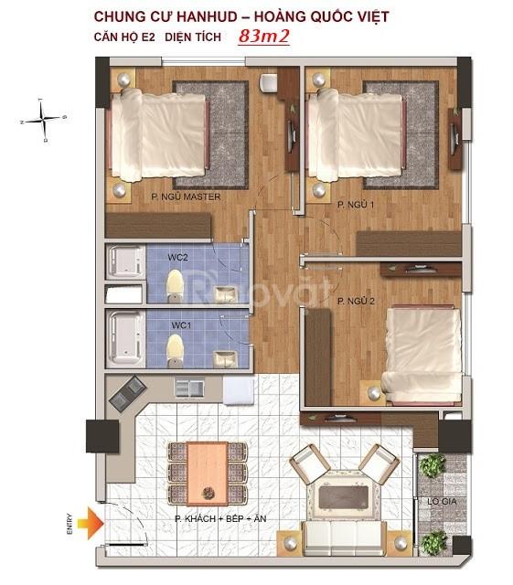 Bán chung cư Hanhud đường Hoàng Quốc Việt, giá 26,5 tr/m2