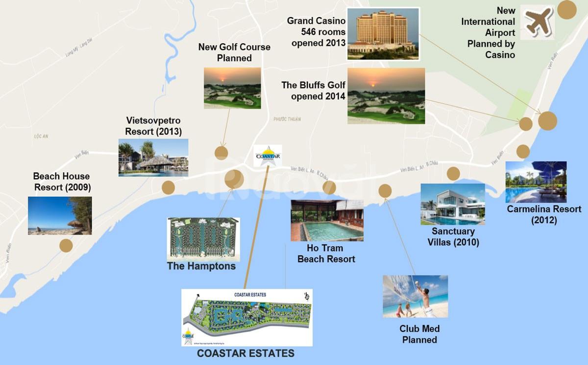 Bán Biệt thự Coastar Hồ Tràm - 1085m2 chỉ 8,9 tỷ -Tây Nam