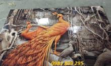 Tranh gạch 3d đôi chim công,gạch tranh treo tường