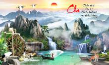 Tranh 3d dán tường mẫu tranh phong cảnh