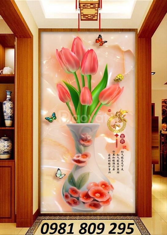 Tranh gạch 3d bình hoa ngọc bích