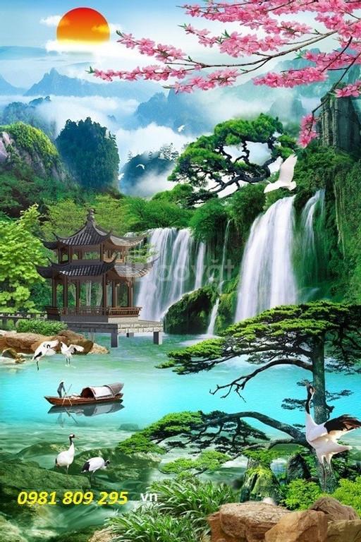 Tranh phong cảnh khổ dọc- Gạch tranh 3d