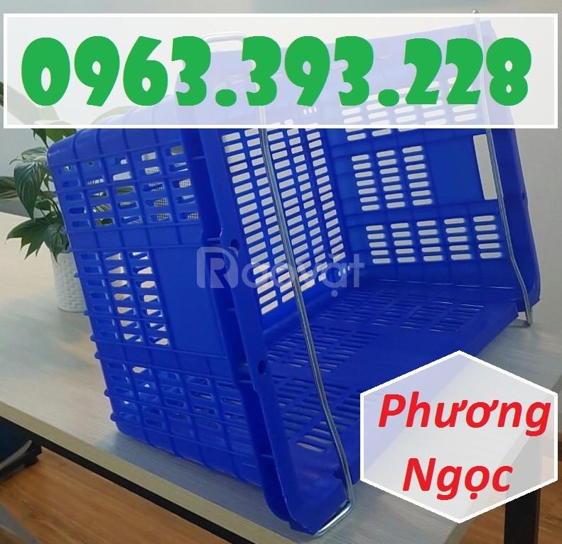 Sọt nhựa thanh long, sóng nhựa HS011, sọt quai sắt