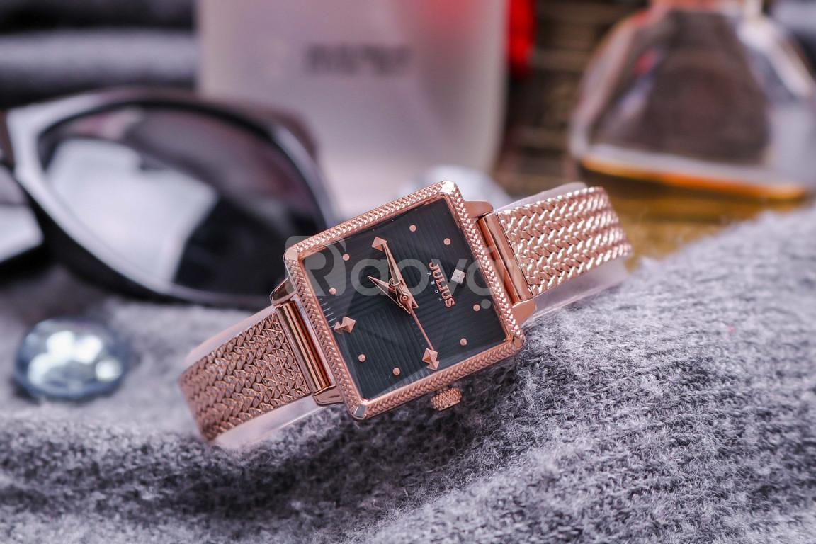 Đồng hồ nữ Hàn Quốc Julius JA-1220 dây thép mặt vuông