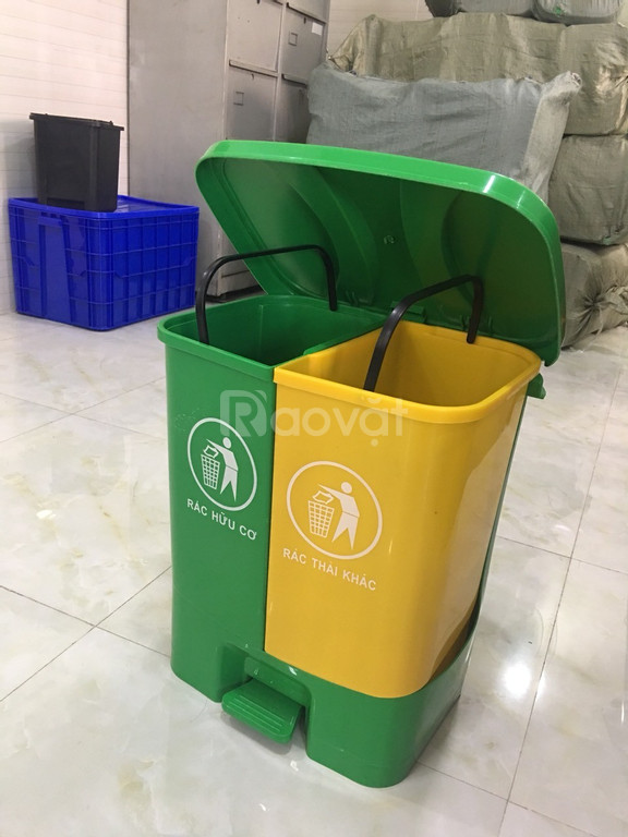Thùng rác đạp chân 2 ngăn | thùng phân loại rác 40 lít