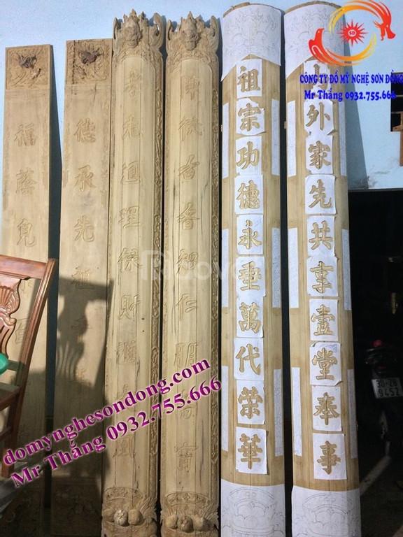 Hoành phi câu đối bằng gỗ đẹp cho thờ gia tiên, nhà thờ họ