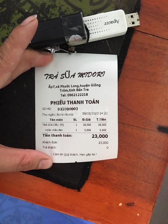 Combo thiết bị tính tiền dành cho quán trà sữa tại Bến Tre