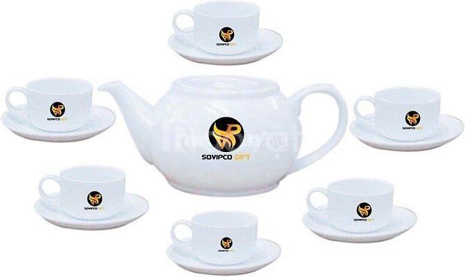 Bộ ấm trà sứ trắng in logo thương hiệu tại Đà Nẵng