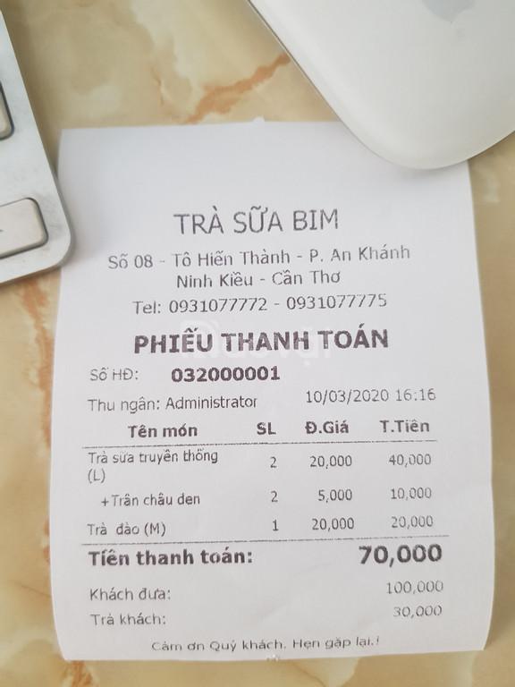 Phần mềm tính tiền+máy in bill cho quán trà sữa tại Cần Thơ giá rẻ