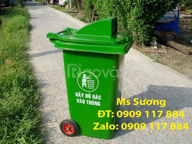 Thùng rác công cộng 120 lít xanh lá