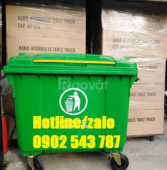 Thùng rác 660L, thùng rác 660 lít HDPE 4 bánh xe