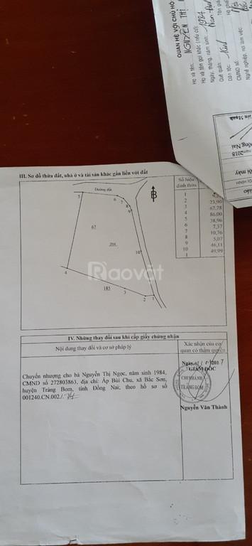 Bán lô đất sẵn nhà, 2 mặt tiền, dt 294m2, giá rẻ Trảng Bom, Đồng Nai.