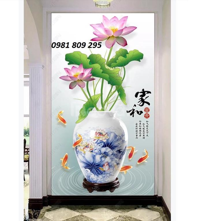 Tranh 3D - bình hoa trang trí phòng