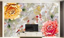Gạch tranh cá chép và hoa