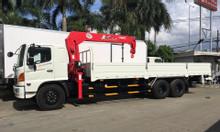 Hino FL8JT7A Thùng lững gắn cẩu Unic URV555K