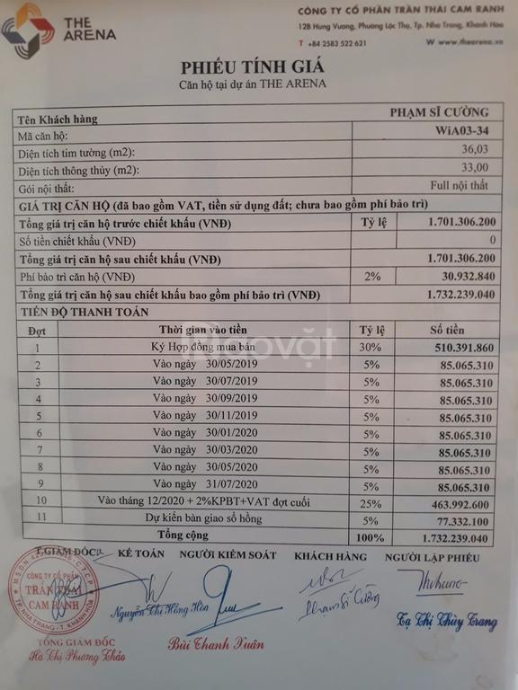 Bán căn hộ nghỉ dưỡng The Arena Cam Ranh, 33m2, full nội thất, giá tốt