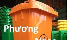 Thùng rác nhựa HDPE 120L, thùng rác công cộng, thùng rác 2 bánh xe