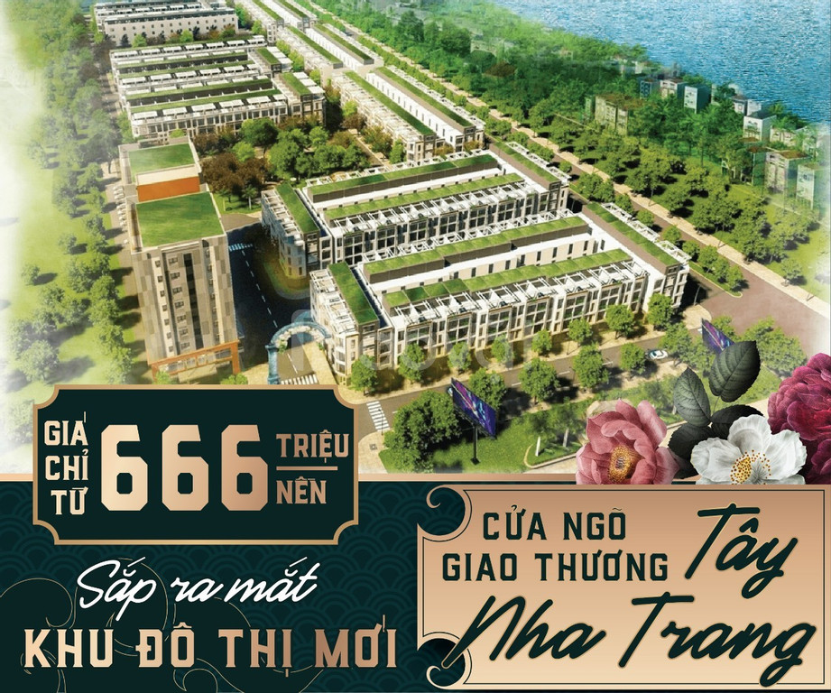 666tr nhà phố Đô thị liền vườn ven sông TT Khánh Vĩnh