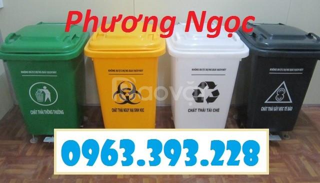 Thùng rác nhựa 60L đạp chân, thùng rác đạp chân 4 bánh xe