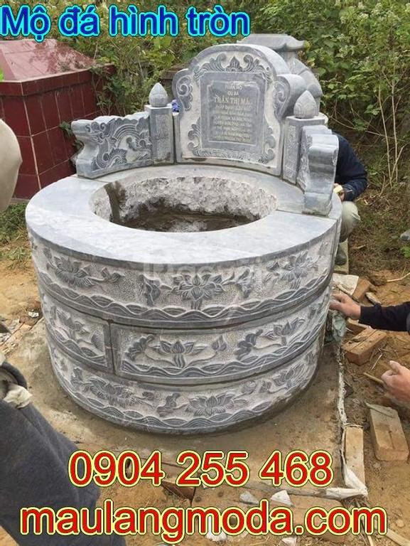Mẫu mộ đá hình tròn đẹp chạm khắc tinh tế độ bền cao