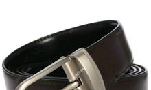 Thắt lưng nam da bò cao cấp đầu hợp kim bo tròn xám mờ - luxshop