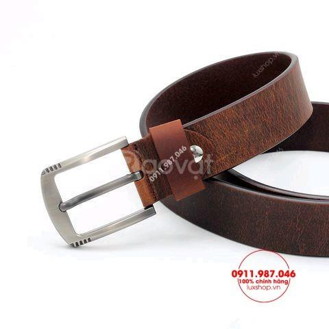 Thắt lưng nam khóa kim da bò sáp cao cấp đầu hợp kim xám mờ